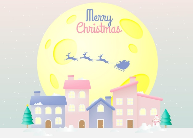 Weihnachtsmann auf dem schlitten mit schönem himmel in papierkunst und pastellschema Premium Vektoren