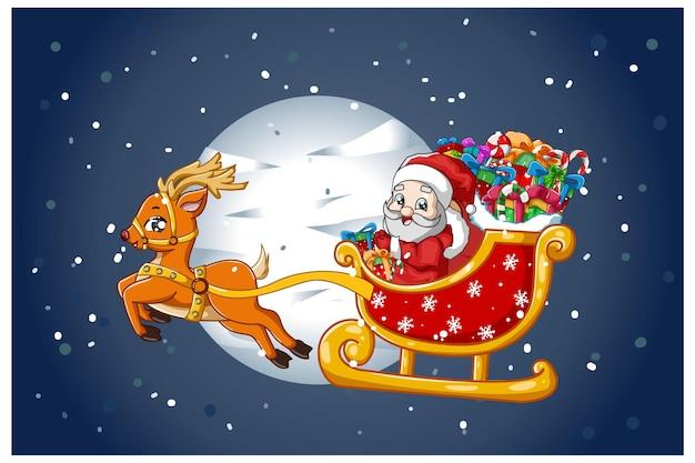 Weihnachtsmann auf einem rentierwagen, der geschenke in der weihnachtsnacht trägt Premium Vektoren