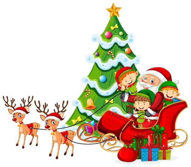Weihnachtsmann auf schlitten mit rentier und viele kinder tragen elfenkostüm auf weißem hintergrund Premium Vektoren