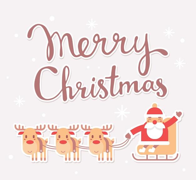 Weihnachtsmann auf schlitten mit text frohe weihnachten Premium Vektoren