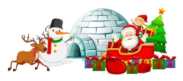 Weihnachtsmann auf schlitten und schneemann von iglu Kostenlosen Vektoren