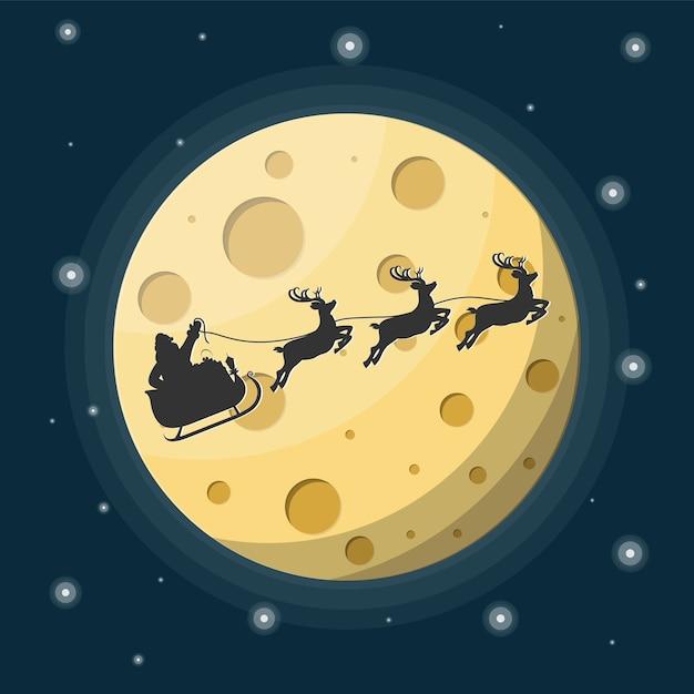 Weihnachtsmann auf schlitten voller geschenke und seine rentiere mit mond im himmel Premium Vektoren