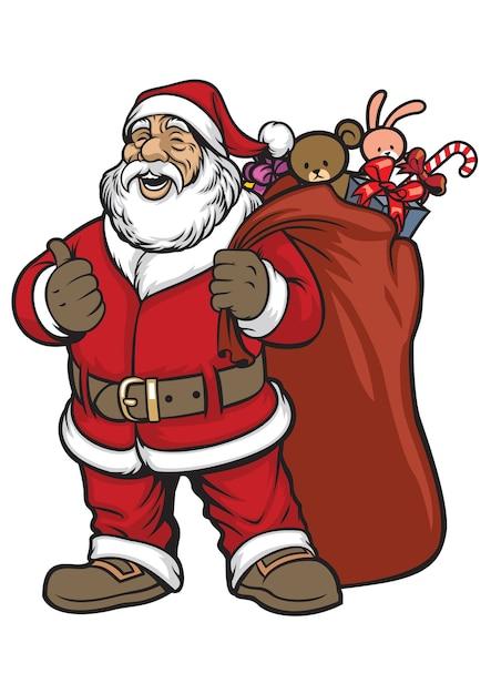 Weihnachtsmann bringt eine tasche voller geschenk Premium Vektoren