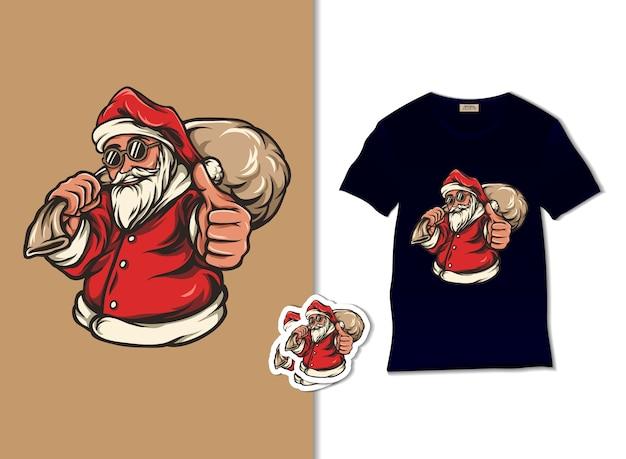 Weihnachtsmann bringt geschenksackillustration Premium Vektoren