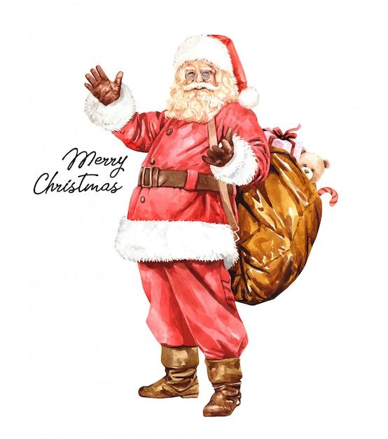 Weihnachtsmann cartoon charakter aquarell. Premium Vektoren