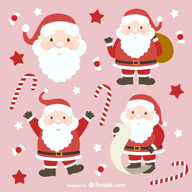 Weihnachtsmann cartoons sammlung Kostenlosen Vektoren