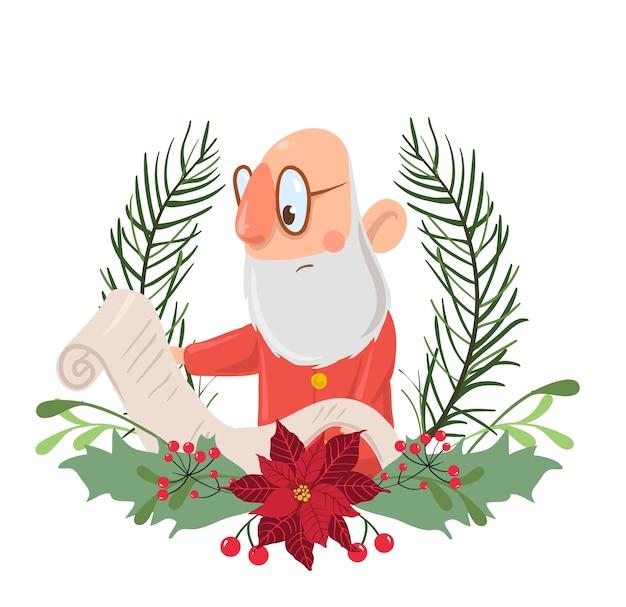 Weihnachtsmann-charakter in einer weihnachtskranzlesung Premium Vektoren