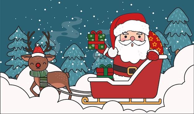 Weihnachtsmann, der den gegenwärtigen wagen mit rentier-illustration fährt. Premium Vektoren