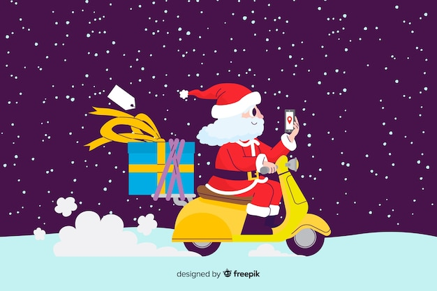 Weihnachtsmann, der einen roller reitet Kostenlosen Vektoren