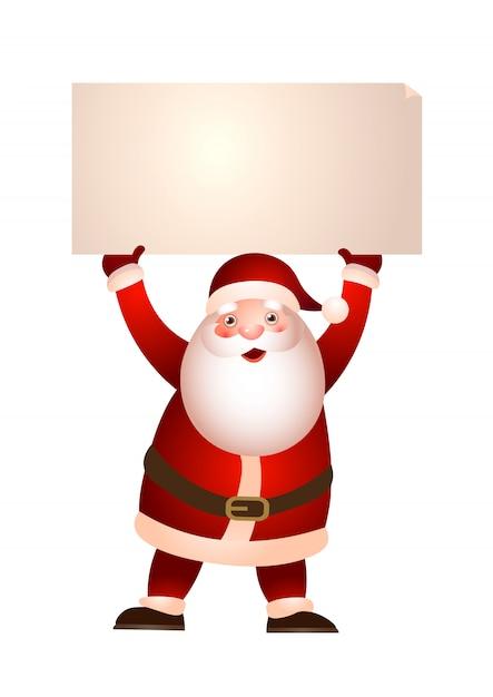 Weihnachtsmann, der fahnenabbildung hält Kostenlosen Vektoren