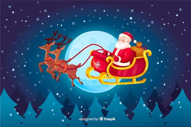 Weihnachtsmann, der in pferdeschlitten fliegt Kostenlosen Vektoren