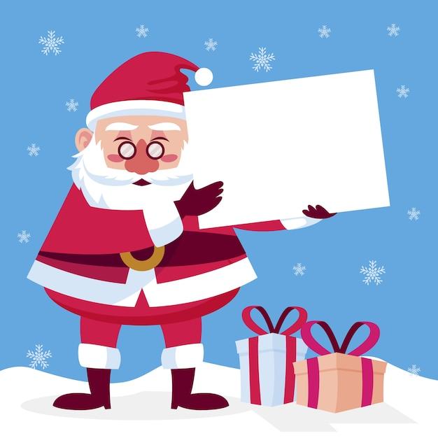 Weihnachtsmann, der unbelegte fahne anhält Kostenlosen Vektoren