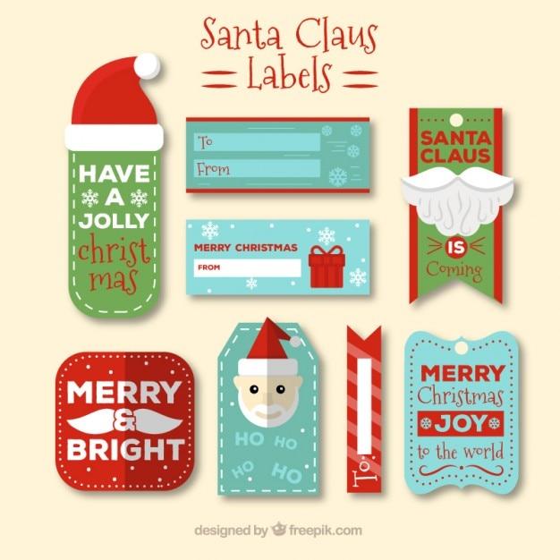Weihnachtsmann-etiketten sammlung Kostenlosen Vektoren