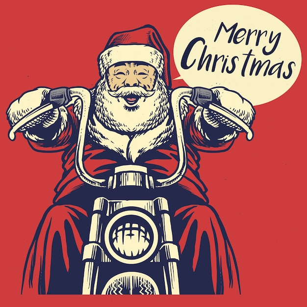 Weihnachtsmann fährt ein motorrad Premium Vektoren