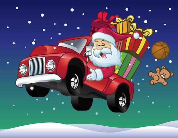 Weihnachtsmann fahren einen lkw voller weihnachtsgeschenk Premium Vektoren