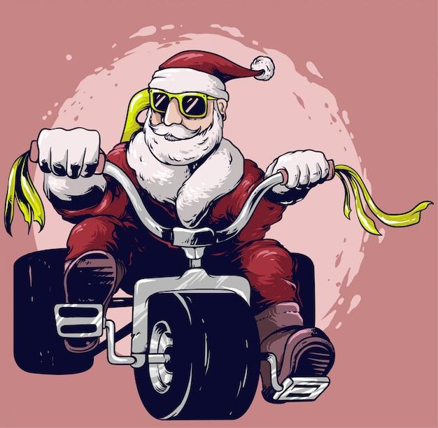 Weihnachtsmann fahrt fahrrad-vektor-design Premium Vektoren