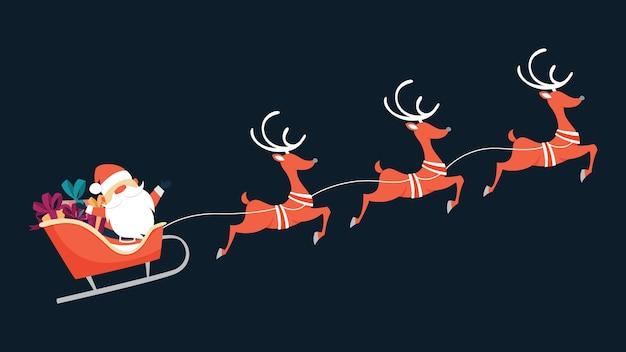 Weihnachtsmann fliegt im schlitten mit geschenken und rentieren. winterferien, weihnachten und neujahr. illustration Premium Vektoren