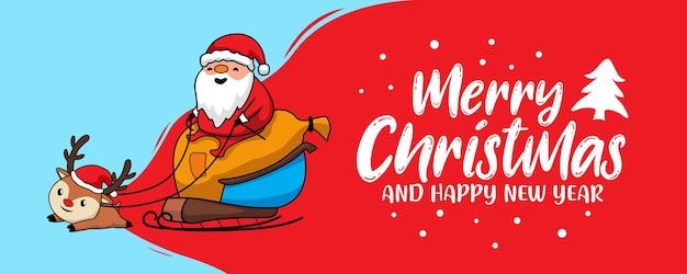 Weihnachtsmann frohe weihnachten banner Premium Vektoren