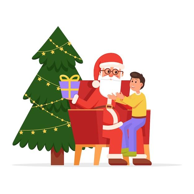 Weihnachtsmann hält kleinen lächelnden boyhis schoß Premium Vektoren