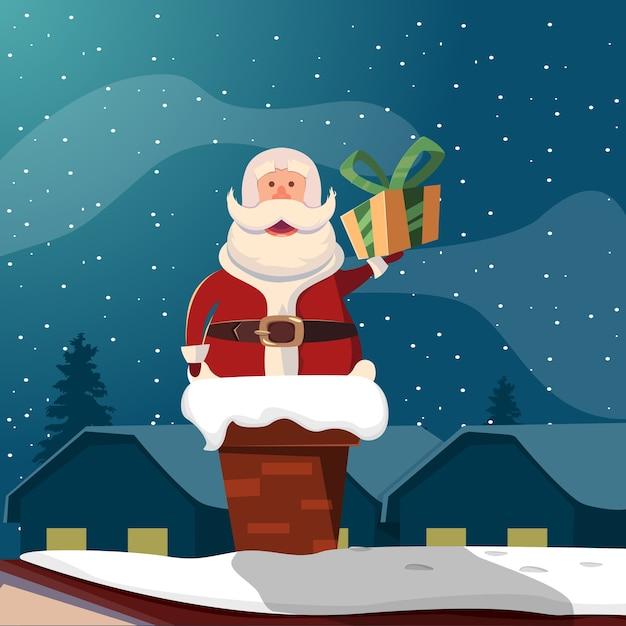 Weihnachtsmann im schornstein lustige illustration Kostenlosen Vektoren