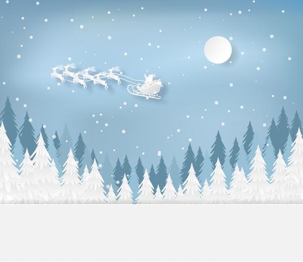Weihnachtsmann im wald mit schnee in der wintersaison. weihnachten, neujahrskarte Premium Vektoren