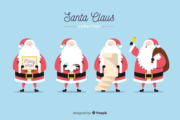 Weihnachtsmann in der roten und langen bartansammlung Kostenlosen Vektoren
