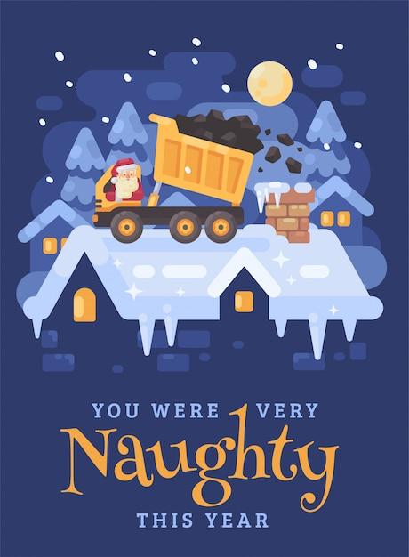 Weihnachtsmann in einem lkw, der kohle in den kamin entlädt Premium Vektoren