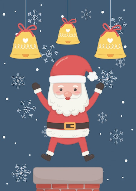 Weihnachtsmann-kamin und karte der frohen weihnachten der glocken Premium Vektoren