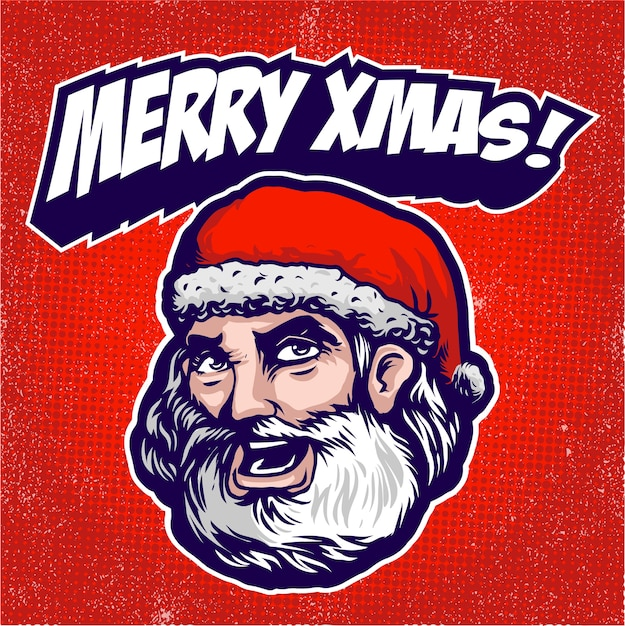 Weihnachtsmann-kopf-logo Premium Vektoren
