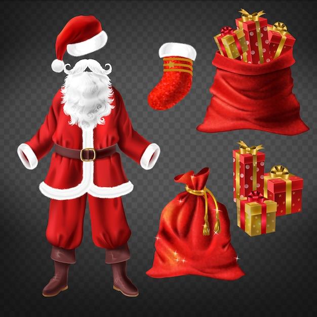 Weihnachtsmann-kostüm mit lederstiefeln, rotem hut, falschem bart und weihnachtsstrumpfsocke Kostenlosen Vektoren
