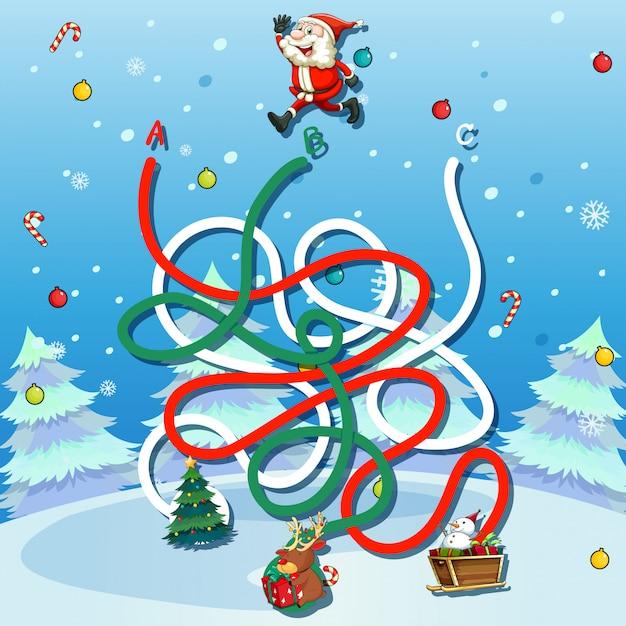 Weihnachtsmann-labyrinth-spielschablone Kostenlosen Vektoren