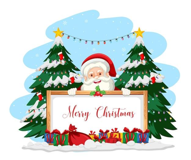 Weihnachtsmann mit frohe weihnachten zeichen Kostenlosen Vektoren