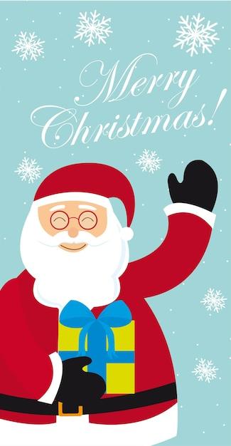 Weihnachtsmann mit Geschenk Vektor der frohen Weihnachten | Download ...