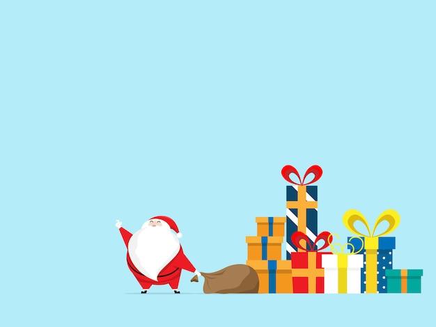 Weihnachtsmann mit geschenkbox am weihnachtstag Premium Vektoren