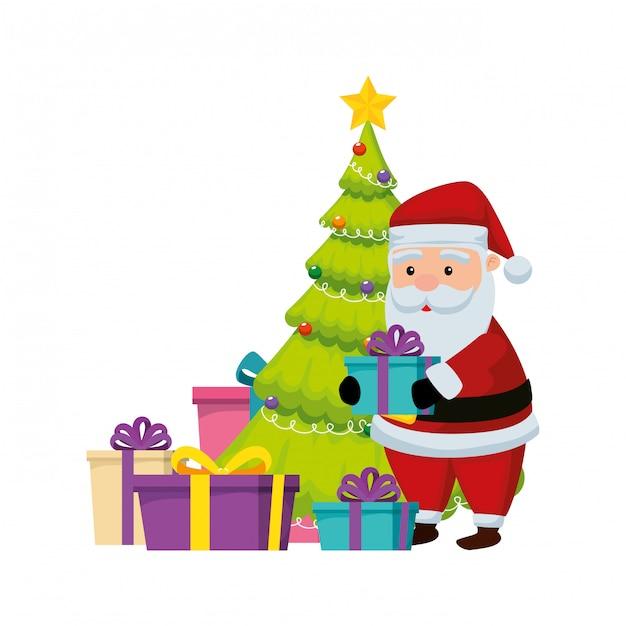 Weihnachtsmann mit geschenken und baumkiefer Premium Vektoren