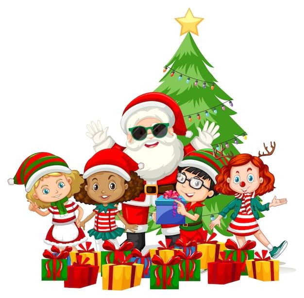Weihnachtsmann mit kindern tragen weihnachtskostümkarikaturfigur auf weißem hintergrund Kostenlosen Vektoren
