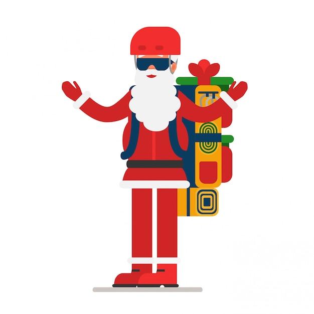 Weihnachtsmann mit offenen armen gibt geschenke aus einem riesigen rucksack Premium Vektoren
