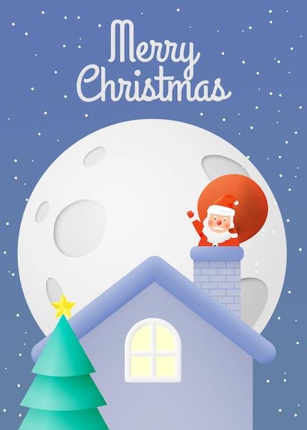 Weihnachtsmann mit schönem himmel und mond in papierkunst und pastellschema Premium Vektoren