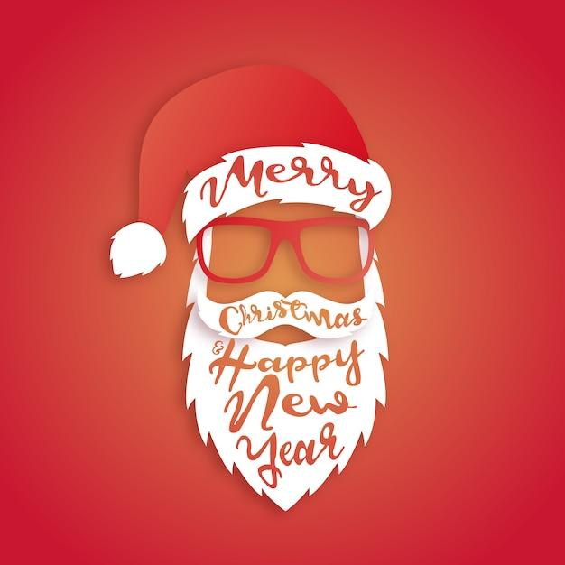 Weihnachtsmann mit schriftzug. Premium Vektoren