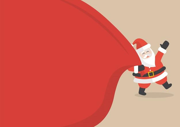 Weihnachtsmann mit sehr großer tasche copyspace Premium Vektoren