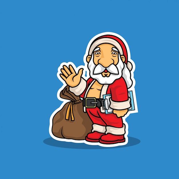 Weihnachtsmann mit tasche der geschenkillustration Premium Vektoren