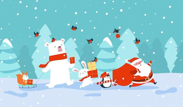 Weihnachtsmann mit waldtieren, die geschenke tragen Premium Vektoren