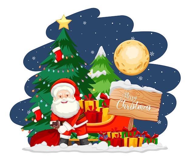 Weihnachtsmann mit weihnachtsbaum und schneemann in der nacht Kostenlosen Vektoren