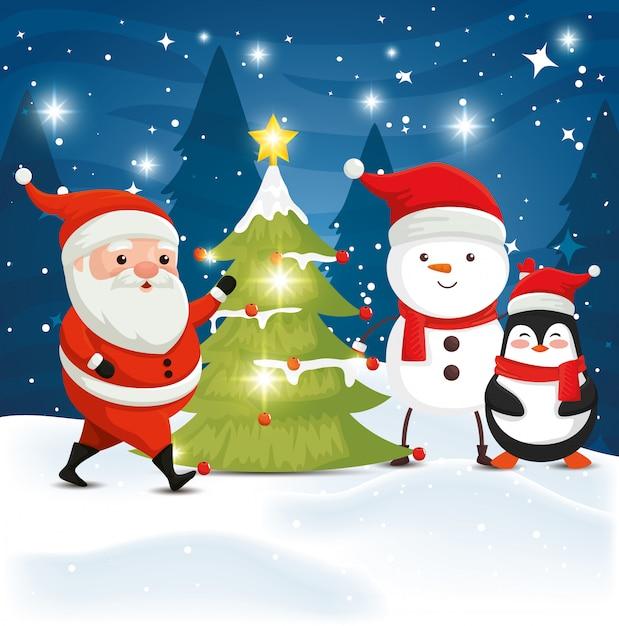 Weihnachtsmann mit zeichenweihnachten in der winterlandschaft Premium Vektoren
