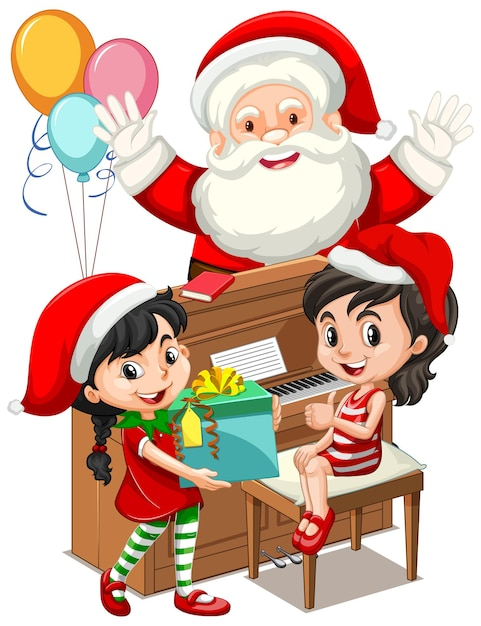 Weihnachtsmann mit zwei mädchen, die klavier am weihnachtstag spielen Kostenlosen Vektoren