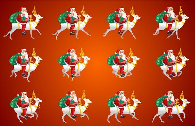 Weihnachtsmann reiten animation Premium Vektoren