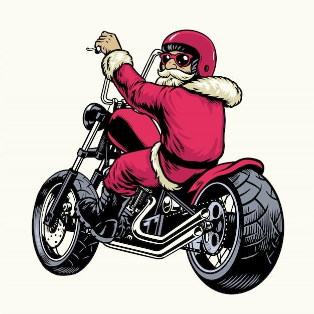 Weihnachtsmann reiten chopper motorrad Premium Vektoren