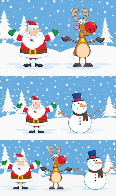 Weihnachtsmann-, rentier- und schneemann-zeichentrickfiguren. sammlungssatz mit hintergrund Premium Vektoren