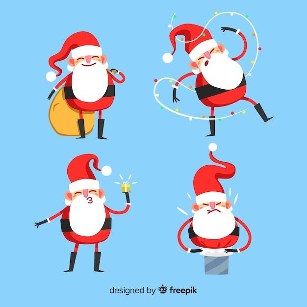 Weihnachtsmann-sammlung Kostenlosen Vektoren