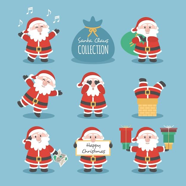 Weihnachtsmann-Sammlung Kostenlose Vektoren